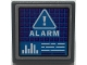 Part No: 15210pb106  Name: Road Sign 2 x 2 Square with Open O Clip with Dark Purple Screen with Dark Azure Grid, White Warning Triangle, 'ALARM', and Bar Graph Pattern (Sticker) - Set 70424