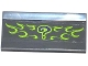 Part No: 2440pb017  Name: Vehicle, Spoiler / Plow Blade 6 x 3 with Hinge with Dark Purple Question Mark and Lime Flames Pattern (Sticker) - Set 76012