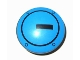 Part No: 2654pb007  Name: Plate, Round 2 x 2 with Rounded Bottom and Black Circle and Rectangle on Dark Azure Background Pattern