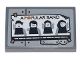 Part No: 26603pb139  Name: Tile 2 x 3 with Poster of 'A POPULAR BAND' and 4 Minifigures over Silver Metal Plates and Rivets Pattern (Sticker) - Set 70840