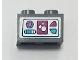 Part No: 3004pb211  Name: Brick 1 x 2 with Magenta, Medium Azure, and Medium Lavender Icons on White Background Pattern (Sticker) - Set 41323
