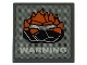 Part No: 30258pb021  Name: Road Sign 2 x 2 Square with Clip with Rock Monster Head and 'WARNING' Pattern (Sticker) - Set 8191