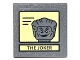 Part No: 30258pb049  Name: Road Sign Clip-on 2 x 2 Square with Black Lines on Yellow Background and 'THE JOKER' Portrait Pattern (Sticker) - Set 10937