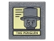 Part No: 30258pb051  Name: Road Sign Clip-on 2 x 2 Square with Black Lines on Yellow Background and 'THE PENGUIN' Portrait Pattern (Sticker) - Set 10937