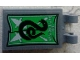 Part No: 30350bpb075  Name: Tile, Modified 2 x 3 with 2 Clips with 'GO SLYTHERIN' and Snake Banner Pattern (Sticker) - Set 75956
