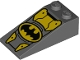 Part No: 30363pb038  Name: Slope 18 4 x 2 with Oval Batman Logo and Yellow Armor Plates Pattern