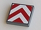 Part No: 3068bpb0221  Name: Tile 2 x 2 with Groove with Chevron Stripes Red and White Pattern (Sticker)