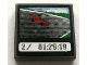 Part No: 3068bpb0326  Name: Tile 2 x 2 with Groove with Race Car and '2/ 01:29:19' on Screen Pattern (Sticker) - Set 8672