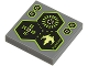 Part No: 3068bpb0626  Name: Tile 2 x 2 with Groove with 3 Hexagons, Spaceship and Alien Characters Pattern