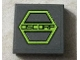 Part No: 3068bpb0936  Name: Tile 2 x 2 with Groove with Black 'OSCORP' on Lime Hexagon Pattern (Sticker) - Set 76016