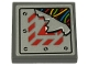 Part No: 3068bpb1307  Name: Tile 2 x 2 with Groove with Multicolored Wires and Broken Metal Plate with Exclamation Mark and Red Danger Stripes Pattern (Sticker) - Set 70432