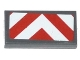 Part No: 3069bpb0331  Name: Tile 1 x 2 with Groove with Red and White Chevron Danger Stripes Thick Pattern (Sticker) - Set 70814