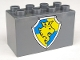 Part No: 31111pb020  Name: Duplo, Brick 2 x 4 x 2 with Shield - Lion and Crown on Yellow and Blue Pattern