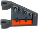 Part No: 44676pb032R  Name: Flag 2 x 2 Trapezoid with Armor Plates, 4 Rivets and Orange Flap Pattern Model Right Side (Sticker) - Set 70601