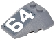 Part No: 48933pb022L  Name: Wedge 4 x 4 Triple with Stud Notches with White '64' on Dark Bluish Gray Background Pattern Model Left Side (Sticker) - Set 76042