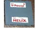 Part No: 60581pb041  Name: Panel 1 x 4 x 3 with Side Supports - Hollow Studs with Red 'Shell V-Power' and 'Shell HELIX' Pattern (Stickers) - Set 30196