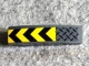 Part No: 61678pb126  Name: Slope, Curved 4 x 1 with Black and Yellow Chevrons and Dark Bluish Gray Tread Plate Pattern (Sticker) - Set 75929