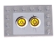 Part No: 6180pb007b  Name: Tile, Modified 4 x 6 with Studs on Edges with 2 Yellow Circles with Bionicle Code Pattern 2 (Sticker) - Set 8759