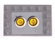 Part No: 6180pb007c  Name: Tile, Modified 4 x 6 with Studs on Edges with 2 Yellow Circles with Bionicle Code Pattern 3 (Sticker) - Set 8759