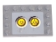 Part No: 6180pb007e  Name: Tile, Modified 4 x 6 with Studs on Edges with 2 Yellow Circles with Bionicle Code Pattern 5 (Sticker) - Set 8759