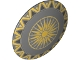 Part No: 75902pb09  Name: Minifigure, Shield Round with Rounded Front with Sunburst and Gold Trim Pattern