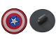 Part No: 75902pb13  Name: Minifigure, Shield Round with Rounded Front with Red and White Rings and Captain America Star Pattern