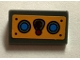 Part No: 85984pb105  Name: Slope 30 1 x 2 x 2/3 with Joystick and Blue Buttons on Bright Light Orange Background Pattern (Sticker) - Set 70005