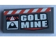 Part No: 87079pb0837  Name: Tile 2 x 4 with 'GOLD MINE' and Red and White Danger Stripes Pattern (Sticker) - Set 60188