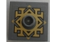 Part No: 87580pb001  Name: Plate, Modified 2 x 2 with Groove and 1 Stud in Center with Gold Arkenstone Pattern (Sticker) - Set 79018