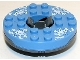 Part No: 92549c03pb01  Name: Turntable 6 x 6 Round Base with Medium Blue Top and White Faces on White Ice Shards Pattern (Ninjago Spinner)