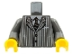 Part No: 973pb0323c02  Name: Torso Suit Pinstripe Jacket and Striped Tie Pattern / Dark Bluish Gray Arms / Yellow Hands
