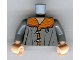 Part No: 973pb0400c01  Name: Torso Harry Potter Jacket, Dark Orange Mouton Collar and Toggle Buttons Pattern / Dark Bluish Gray Arms / Light Nougat Hands