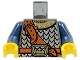 Part No: 973pb0438c01  Name: Torso Castle Fantasy Era Scale Mail, Crown on Buckle, Chest Strap Pattern / Dark Blue Arms / Yellow Hands