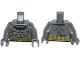 Part No: 973pb1632c01  Name: Torso Batman Logo with Muscles and Gold Belt Pattern / Dark Bluish Gray Arms / Dark Bluish Gray Hands