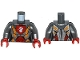 Part No: 973pb2240c01  Name: Torso Nexo Knights Female Armor with Orange and Gold Circuitry and White Dragon Head on Red Pentagonal Shield Pattern / Flat Silver Arms / Red Hands