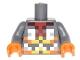 Part No: 973pb2457c01  Name: Torso Pixelated Orange, Yellow and Silver Armor Pattern / Dark Bluish Arms / Orange Hands