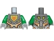 Part No: 973pb2719c01  Name: Torso Nexo Knights Armor with Orange and Gold Circuitry and Lime Emblem Framed with Orange Fox Head Pattern / Green Arms / Light Bluish Gray Hands