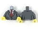 Part No: 973pb3030c01  Name: Torso Suit Jacket Buttoned with Red Tie and Lapel Mic Pattern / Dark Bluish Gray Arms / Yellow Hands