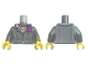 Part No: 973pb3158c01  Name: Torso Suit Jacket, Two Buttons, Pink Shirt and Magenta Scarf Pattern, Black Vertical Lines / Dark Bluish Gray Arms / Yellow Hands