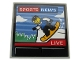 Part No: 10202pb009  Name: Tile 6 x 6 with Bottom Tubes with TV Screen with 'SPORTS NEWS', 'LIVE' and Snowboarder Pattern (Sticker) - Set 60203
