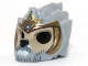 Part No: 11129pb05  Name: Minifigure, Headgear Mask Lion with Tan Face, Gray and White Beard and Gold Crown Pattern