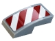 Part No: 11477pb109L  Name: Slope, Curved 2 x 1 with White and Red Danger Stripes Pattern Model Left Side (Sticker) - Set 60306