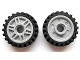 Part No: 13971c01  Name: Wheel 18mm D. x 8mm with Fake Bolts and Deep Spokes with Inner Ring with Black Tire Offset Tread - Band Around Center of Tread (13971 / 61254)