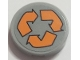 Part No: 14769pb276  Name: Tile, Round 2 x 2 with Bottom Stud Holder with Orange Recycling Arrows Pattern (Sticker) - Set 70615