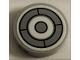 Part No: 14769pb325  Name: Tile, Round 2 x 2 with Bottom Stud Holder with SW Millennium Falcon Dark Bluish Gray and White Circles Pattern (Sticker) - Set 75212