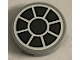 Part No: 14769pb326  Name: Tile, Round 2 x 2 with Bottom Stud Holder with Dark Bluish Gray Fan on White Background Pattern (Sticker) - Set 75212