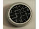 Part No: 14769pb327  Name: Tile, Round 2 x 2 with Bottom Stud Holder with SW Millennium Falcon Light Bluish Gray Pipes Pattern (Sticker) - Set 75212