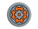Part No: 14769pb337  Name: Tile, Round 2 x 2 with Bottom Stud Holder with 4 Orange Arrows Double and Hexagon Pattern (Sticker) - Set 76107