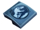 Part No: 15068pb301  Name: Slope, Curved 2 x 2 with Jurassic World Logo and Scratches Pattern (Sticker) - Set 75937