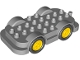 Part No: 15314c01  Name: Duplo Car Base 4 x 8 with Four Black Wheels and Yellow Hubs